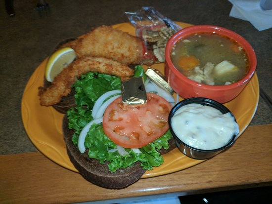 Mackinaw's Grill & Spirits : Lake perch sandwich and chicken dumpling soup