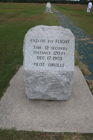 Wright Brothers National Memorial: There are a total of four of these showing the progress of how long each plane stayed in the air