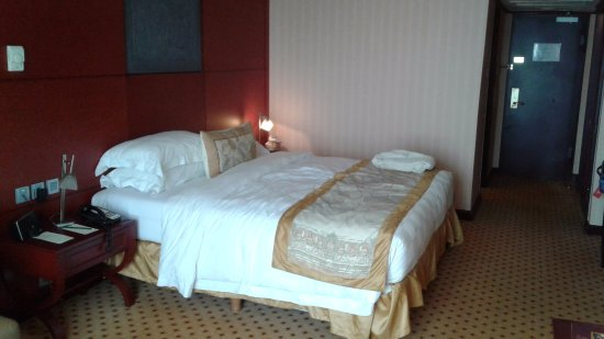 Hotel Borobudur Jakarta: View from the window looking inside the room - to the bed side