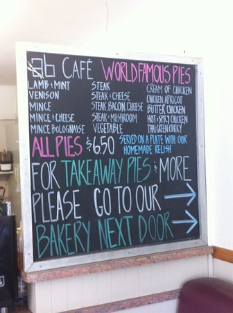 Arrowtown Bakery & Cafe: cafe menu