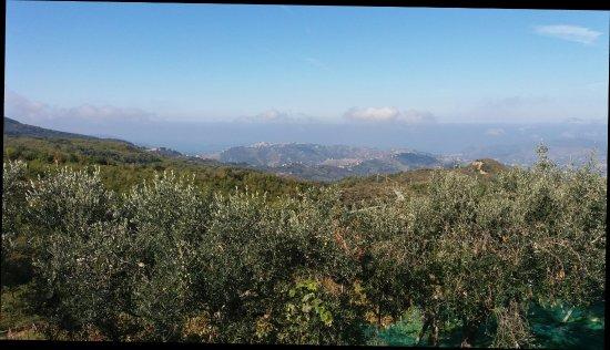 Perdifumo, Italy: Questo è il panorama visto dall'hotel ristorante Castagneto di Mercato Cilento!  Una cartolina!