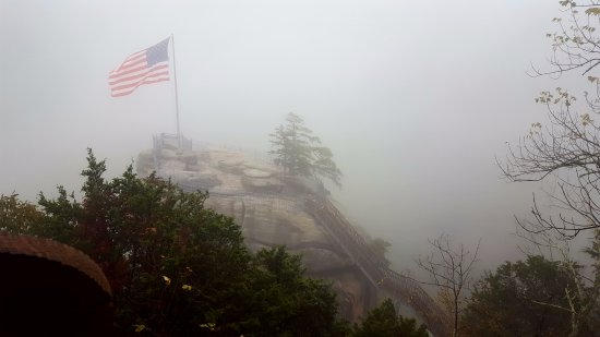 Chimney Rock, NC: cloud coverage obscured views but only momentarily