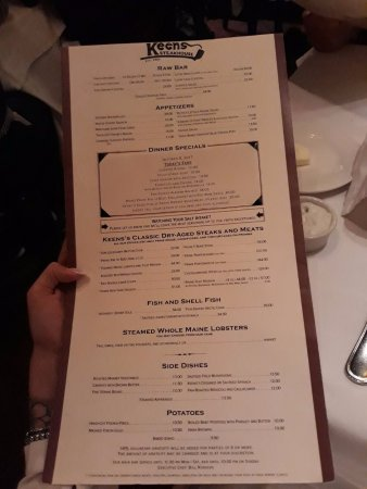 Keens Steakhouse: MENU'
