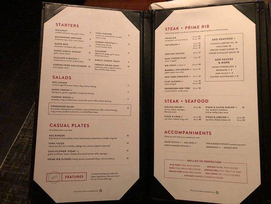 The Keg Restaurant Menu Vancouver