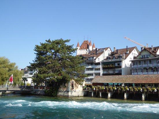 Aare mit sicht auf das Schloss Thun