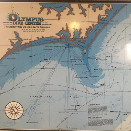Map of the NC wrecks Picture of Olympus Dive Center Morehead City