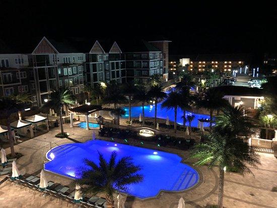 Pool Lit Up Beautifully At Night