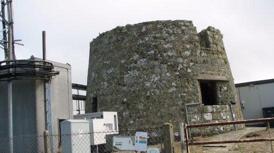 Niton, UK: The stump tower along the ridge (no access).