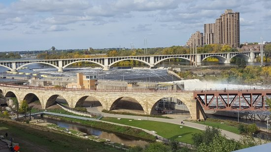 Stone Arch Bridge from the 5th floor of Guthrie Theater. Outdoors, so you get the sound and imag
