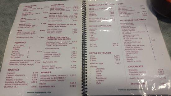 Cafeteria Gaxen: carta
