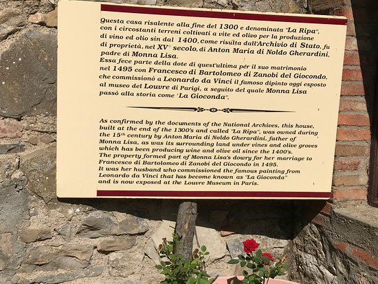 La Ripa: Sign telling of the history as dowry for Mona Lisa
