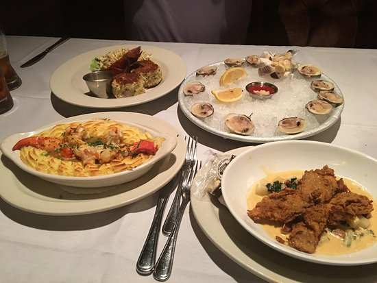 Crab cakes little neck clams oyster stew lobster for Lobster shepherd s pie
