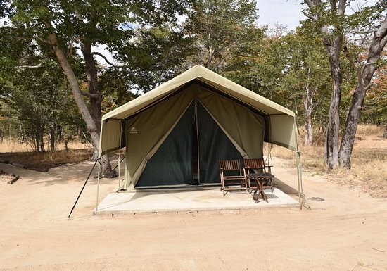 Hwange National Park, Zimbabwe: Exterior view of my tent.