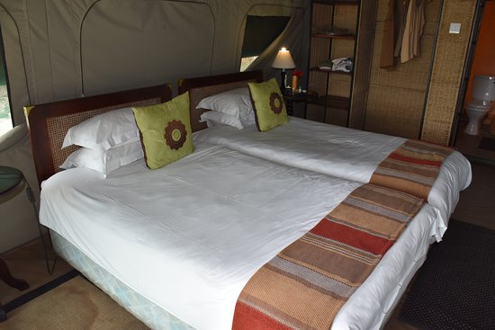 Hwange National Park, Zimbabwe: The tent had two double beds.