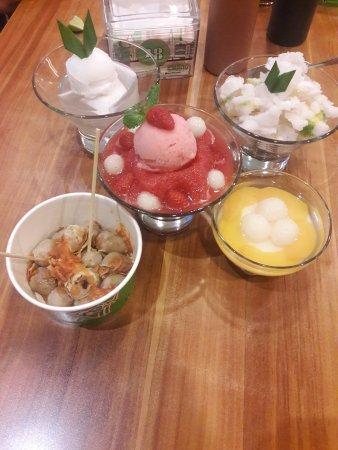 strawberry sensation, chop chop, coconut jelly, silky fruit
