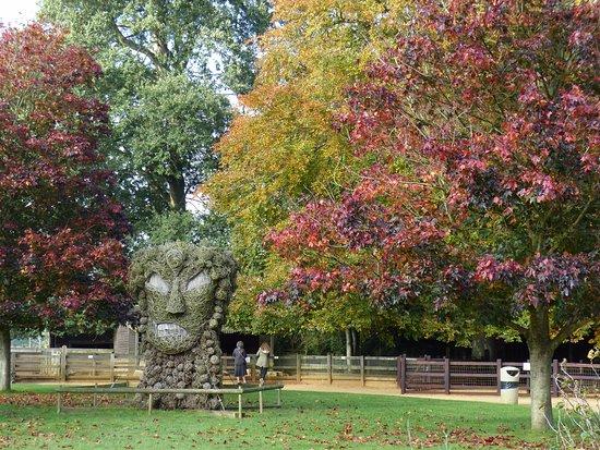 Burford, UK: dramatic sculpture amongst the park autumn foliage