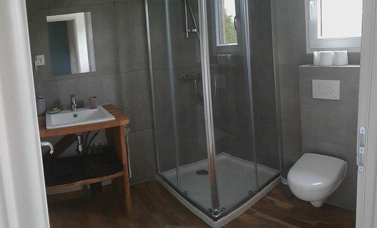 Theix, France: salle d'eau chambre bleue et verte