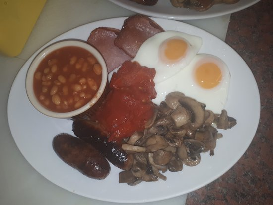 Fleet, UK: Full English, £6.50 before noon, £7.50 after. Half English Breakfast and Vegetarian options avai