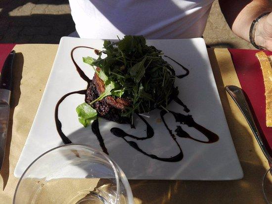 Solutre-Pouilly, France: tournedos de boudin basque sur galette parmentière aux olives, oignons confits au balsamique....