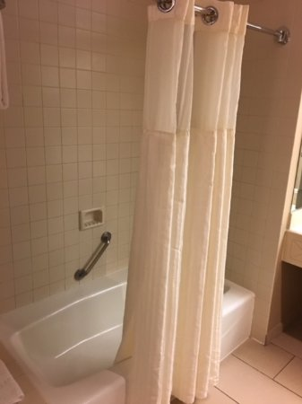 Hyatt Regency Albuquerque: Shower curtain didn't fit from front to back.