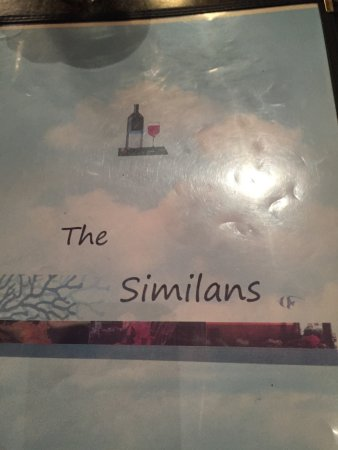The Similans: The menu cover