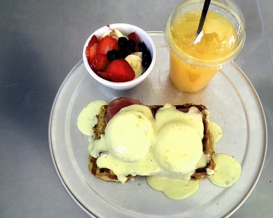 Webster, NY: Waffle Factory Benedict and fresh squeezed OJ