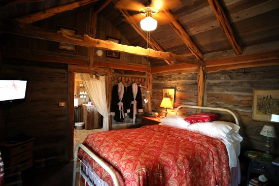 Spicewood, TX: Queen bed with duvet and robes