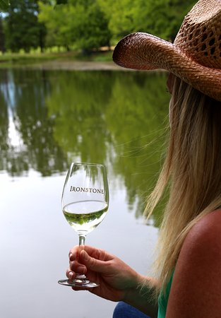 Murphys, CA: Enjoy the afternoon with a glass of wine in our Lakeside Park!