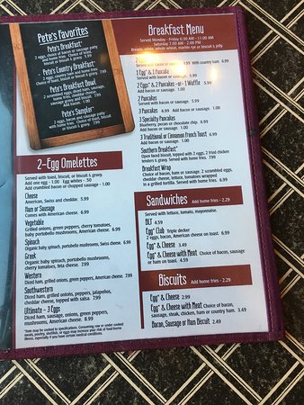 Pete S Cafe Menu Knoxville Tn