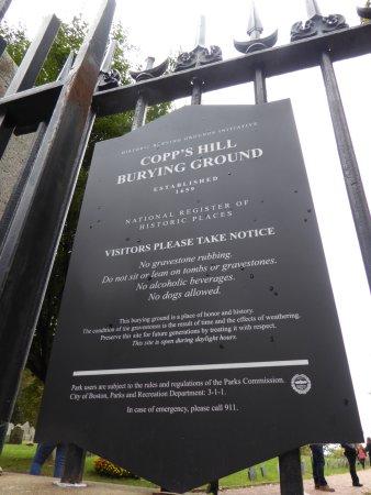 Copp's Hill Burying Ground: Sign
