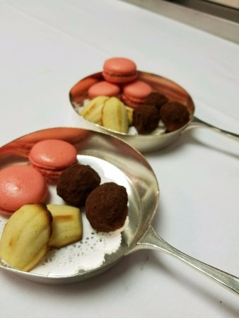 Winnetka, IL: Mignardise at George Trois, Cinnamon Macaroon, Grand Marnier Chocolate Truffles & Lemon Madeline