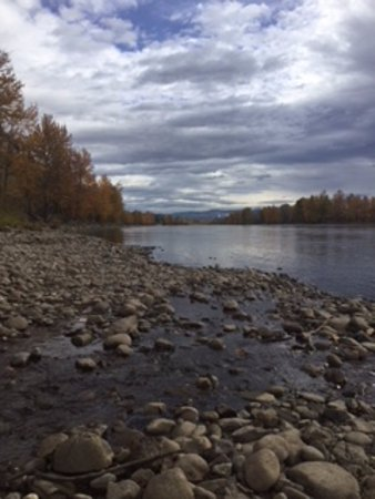 Принс-Джордж, Канада: View east of Nechako River from creek mouth.