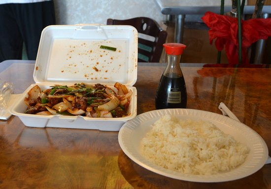 Statesville, NC: Mongolian Beef in Stryofoam plus Rice