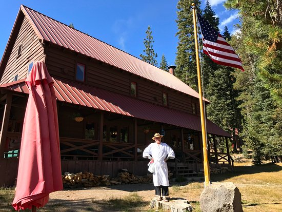 Chester, CA: Bob, in front of lodge, prepares to head to hot springs pool