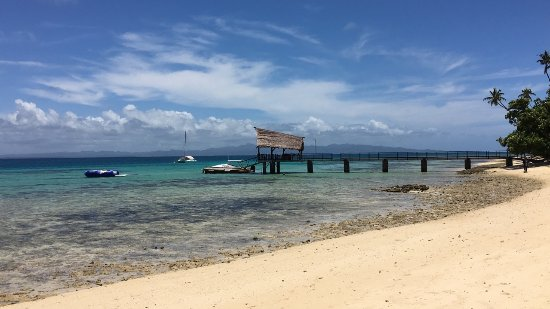 Leleuvia Island Resort: Arrival bure and jetty