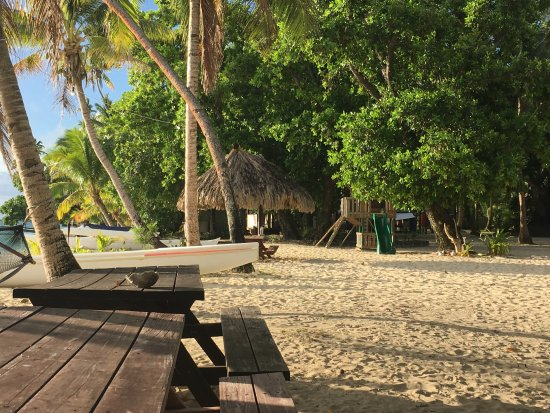 Leleuvia Island, Fiji: Sitting areas and kids play equipment