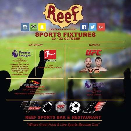 Reef Sports Bar & Restaurant : Sports Fixture List this Weekend