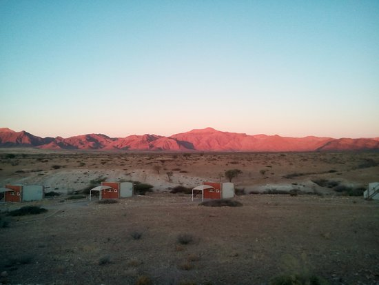 Solitaire, Namibia: Chalets and the surroundings at sunset