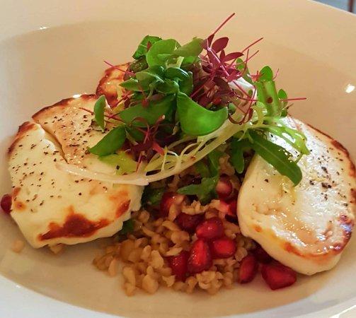 Markinch, UK: Grilled haloumi, pomegranate and freekeh salad