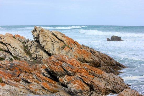 Cape Agulhas, Sudáfrica: sandstone rock shoreline