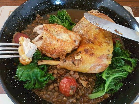 Markinch, UK: Corn-fed chicken, lentils, kale and chorizo