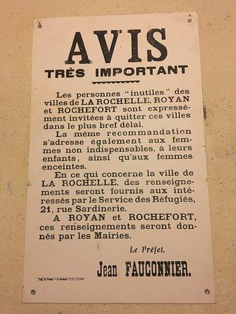 Le Bunker de La Rochelle : Une affiche durant l'occupation de La Rochelle