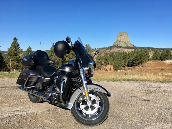Devils Tower, WY: My Harley before the Tower.From Sundance take Hwy 24 + 110.There are some Viewpoints on the road