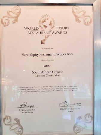 Serendipity Restaurant: World Luxury Restaurant Award.