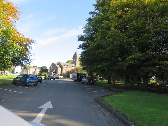 Fife, UK: church at the end of the green
