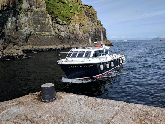 Portmagee, Ireland: The boat that is used to take people to the island. It does have a toilet onboard.