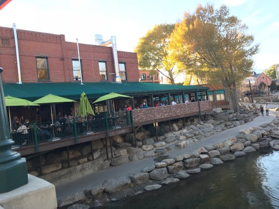 Boathouse Cantina : A view of the patio and the river from the F Street bridge.