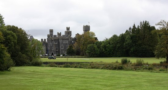 Ashford Castle: View of gardens from Cruise Vessel with Castle in background