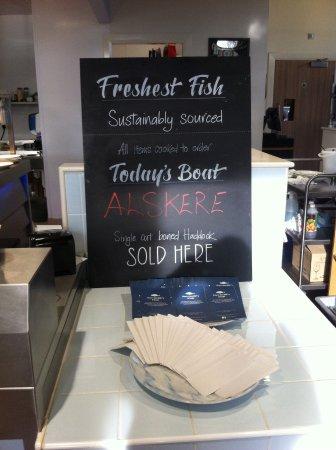 Dumbarton, UK: Tells you where fish sourced