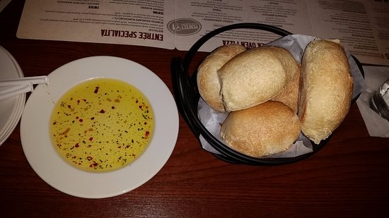 Bel Air, MD: Fresh, hot rolls with olive oil and spices to dip them into.